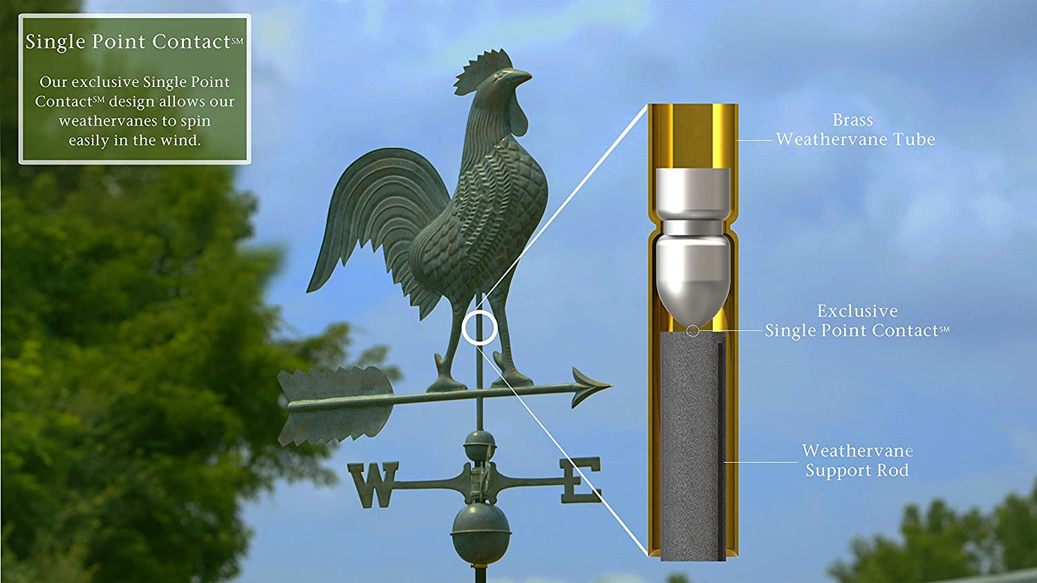 Pure Copper Good Directions Large Rooster Weathervane