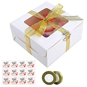 50PCS White Cupcake Boxes 6.3 x 6.3 x 3 Inch Cupcake Carrier with Clear Lid and 4 Cavity Inserts Bakery Boxes for Cake Wrapping, Party Favor Muffins, Wedding Party Favor (4 Cavity)