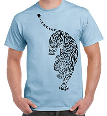 afdc1eb437225 Tribal T-Shirts Tribal Tiger Tattoo Large Print Men's T-Shirt | Amazon.com
