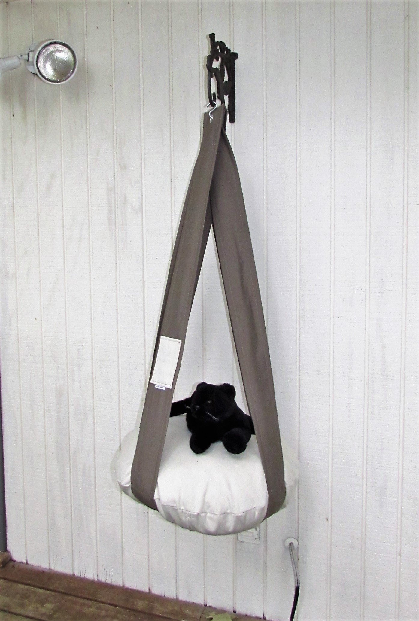 Cat Bed Neutral Khaki Green & Cream Single Cat Bed, Kitty Cloud, Hanging Cat Bed, Pet Furniture, Gift, Cat Tree