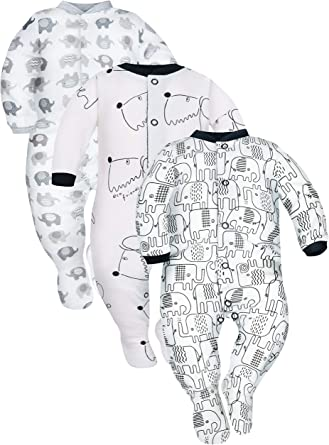 Pack of 3 Sizes 9-24 Months SIBINULO Baby Boys Baby Girls Sleepsuit with ABS Mix