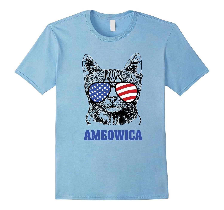 Ameowica Funny Patriotic Cat Sunglasses T-Shirt 4th of July-PL