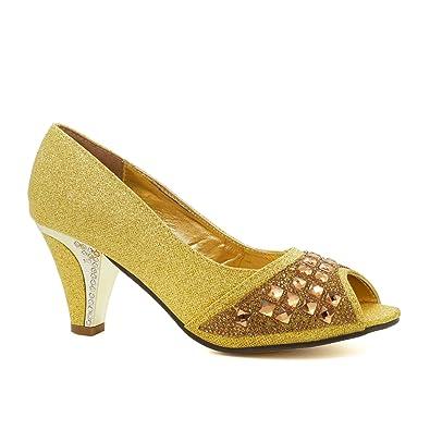 LADIES GOLD DIAMANTE SPARKLY COURT SLIP ON KITTEN HEELS SHOES SIZES UK 3-8