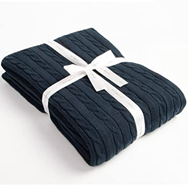 NTBAY 100% Cotton Cable Knit Throw Blanket Super Soft Warm Multi Color(51 x 67 , Navy)