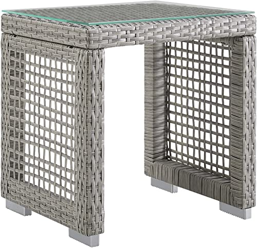 Modway EEI-2922-GRY Aura Outdoor Patio Wicker Rattan Side Table