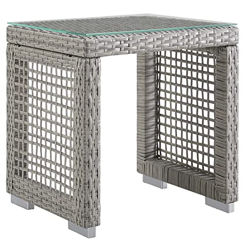 Modway EEI-2922-GRY Aura Outdoor Patio Wicker Rattan Side Table, Gray Gray