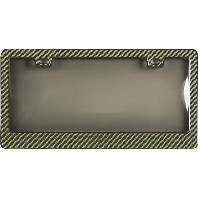 BLVD-LPF OBEY YOUR LUXURY Genuine 100% Yellow Carbon Fiber License Plate Frame Tag Cover 3K with Tinted Cover 2 in 1 Real Carbon Fiber and Unbreakable Cover Patent: Home & Kitchen