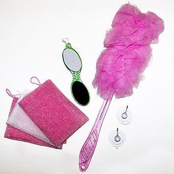 Best Pink 7 Piece Bath Shower Back Scrubber Loofah Luffa Mesh Pouf Sponge  Gift Set.