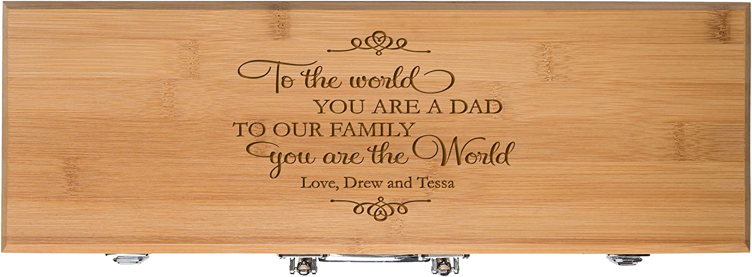 Personalized Barbecue Gifts for men Custom Engraved dad To the World You Are A Dad To Our Family You are the World Gift 3pc Bamboo Barbecue tools and accessories Gift set for Outdoor grills Bamboo