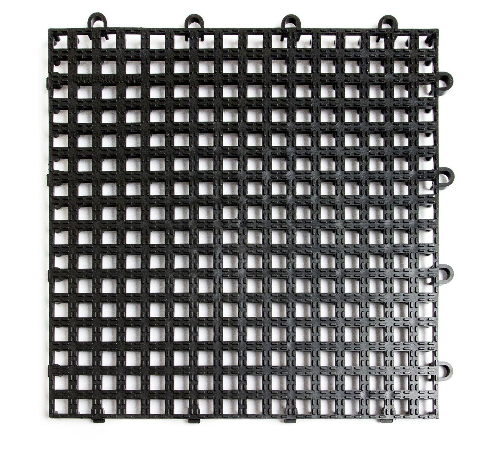 DuraGrid DNS12BLAK Non-Slip Interlocking Modular Multi-Use Safety Floor Matting (12 Pack), Black