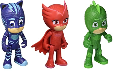 "PJ Masks Deluxe 3 Piece Set of 6"" Talking Figures with Catboy, Owlette,"