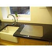 Avonstar Trading Co. Ltd. - Tagliere in acciaio inox per proteggere il piano della cucina, disponibile piatto o arrotondato, in varie dimensioni, include piedini antiscivolo in gomma