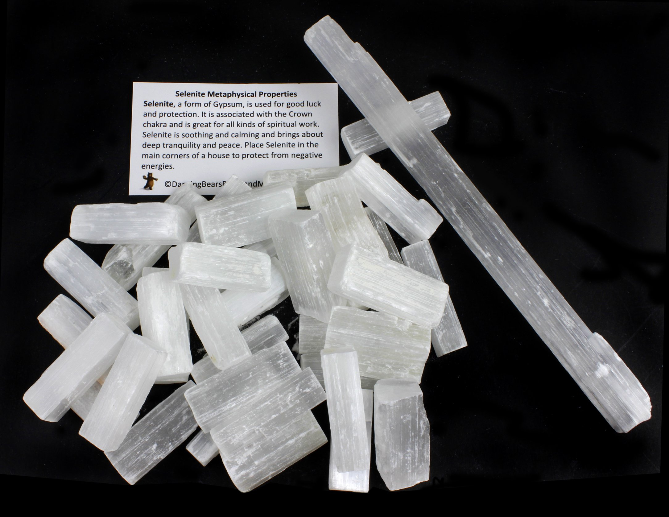 Dancing Bear Selenite Sticks bulk (35-40 pcs) 1.5 inch L X .25-.5'' W each, BONUS: (1) 8 inch Selenite Wand & Educational ID Card, Reiki, Chakra, Healing, Protection, Good Luck, Positive Energy, brand