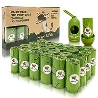 Peppo and Pets - Bolsas para recoger excrementos - 24 rollos- 360 bolsas + 1 dispensador- Olor a lavanda- Biodegradables-Resistentes