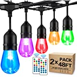2-Pack 48FT Outdoor RGB String Lights, Cafe LED String Light with 30+5 E26 Shatterproof Edison Bulb Dimmable, Commercial Ligh