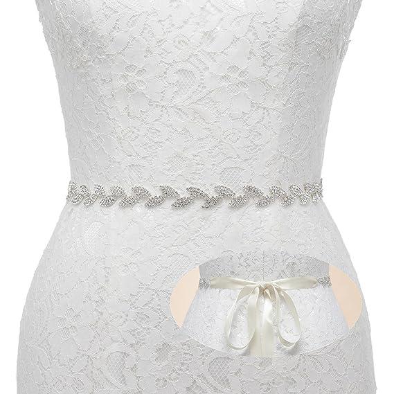 c82b20264336 SWEETV Magnifique Strass Feuille Nuptiale Ceinture de Mariage Pour Robe de  Mariée Vêtements   Accessoires avec