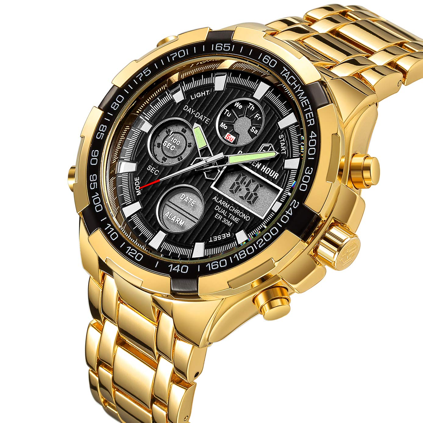 5a3987cb8 Amazon.com  Tamlee Luxury Full Steel Analog Digital Watches Men Led Male  Outdoor Sport Military Wristwatch Gold Black  Watches