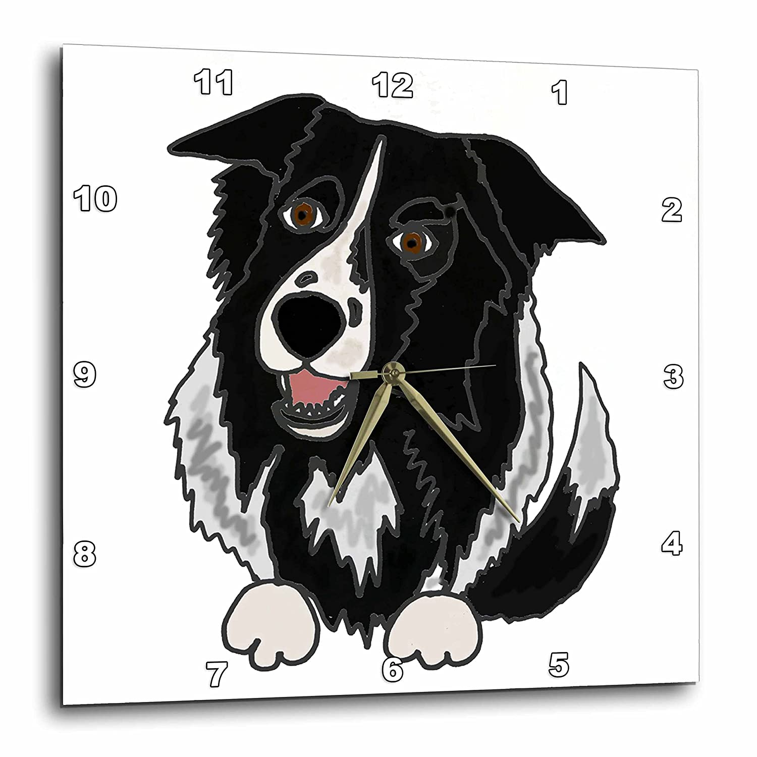 3D Rose Cool Funny Border Collie Puppy Dog Art Wall Clock 15 x 15 3dRose dpp/_240057/_3