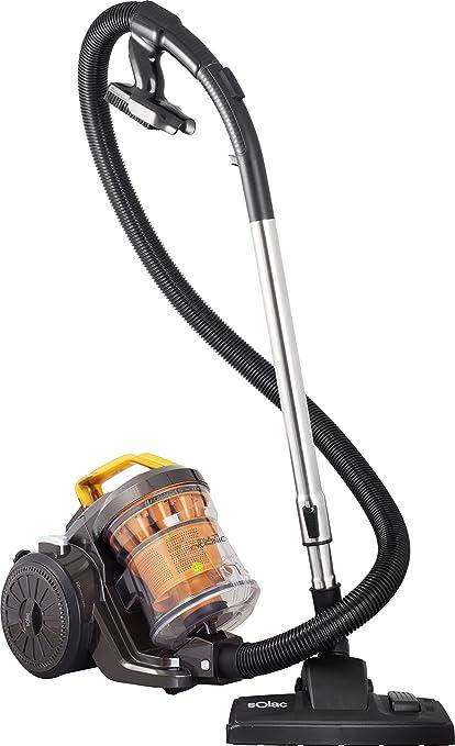 Solac Multiclonic-Aspirador multiciclónico (800 W, Filtro HEPA, 2 cepillos, Capacidad 3 litros, accessorios), Naranja y Negro