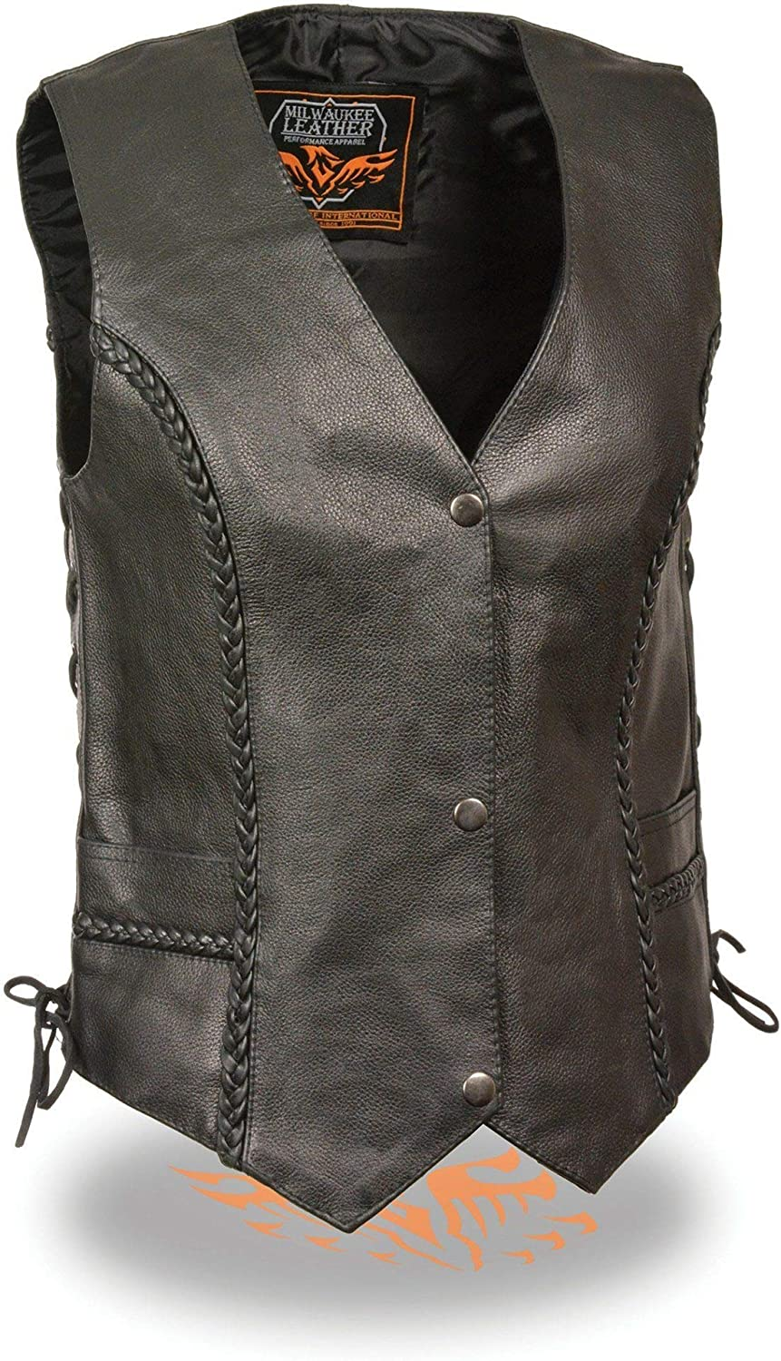 Milwaukee Womens Braided Side Lace Leather Vest Black, X-Small
