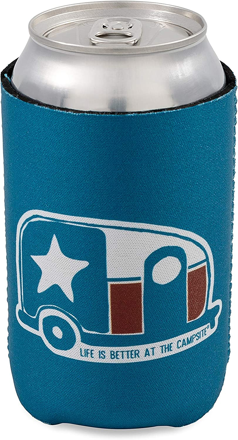 Camco Life is Better at the Campsite Can Sleeve 53373 cans Fits 12 oz Keeps Your Beverage Cold Features a Canada Flag Mini Camper Design