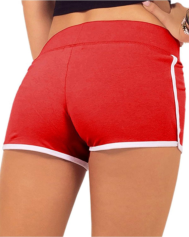 SwissWell Femme Short de Sport /Élastique Stretch Yoga Fitness Casual Plage Short R/églable en /Ét/é avec Bords Color/és