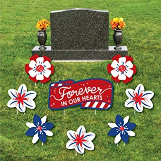 product image for Veteran Memorial - Yard Sign & Outdoor Lawn Cemetery Grave Decorations - Memorial Cemetery Yard Signs - Set of 8