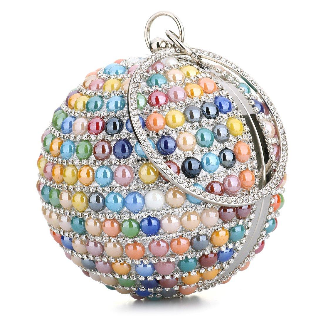 Woman Beaded Round Ball Clutch Handbag Rhinestone Ring Handle Purse Evening Bag