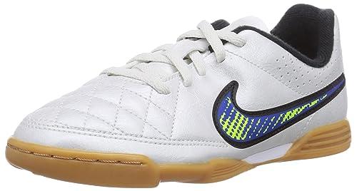 brand new 26b46 ba98c Nike Kids JR Tiempo Rio II IC Indoor Soccer Shoes White (5, White