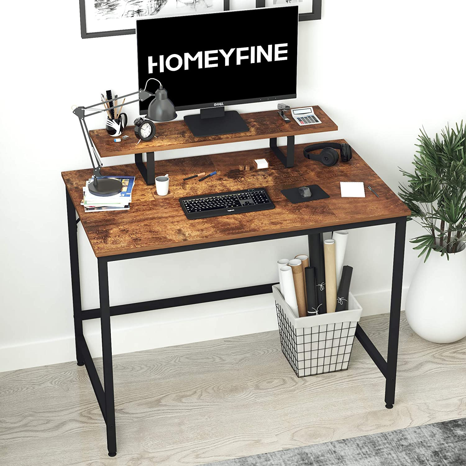 HOMEYFINE Computer Desk,Laptop Table with Storage for Controller,40 Inches,Wood and Metal,Study Table for Home Office(Vintage Oak Finish)