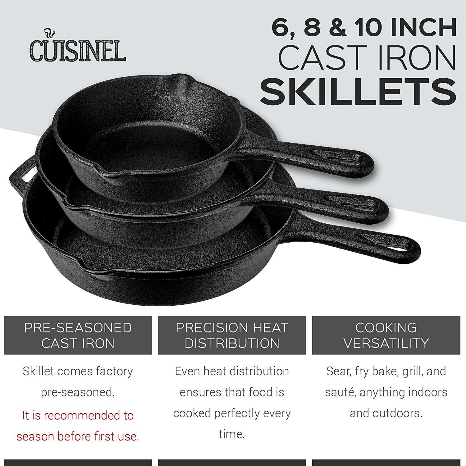Pre-Seasoned Cast Iron Skillet 3-Piece Chef Set 6-Inch 8-Inch and 10-Inch Oven Safe Cookware – 3 Heat-Resistant Holders – Indoor and Outdoor Use – Grill, Stovetop, Induction Safe