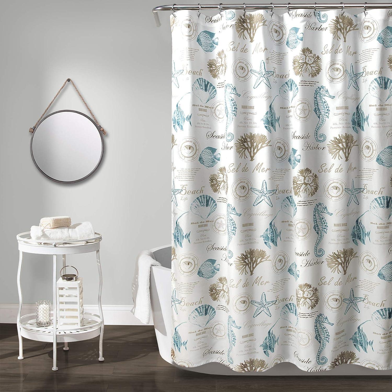 "Lush Decor, Blue & Taupe Harbor Life Shower Curtain, 72"" x 72"""
