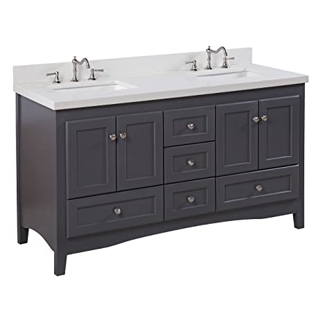Abbey 60 Inch Double Bathroom Vanity Quartz Charcoal Gray Includes A Charcoal Gray Cabinet Quartz Countertop Soft Close Drawers And Doors And