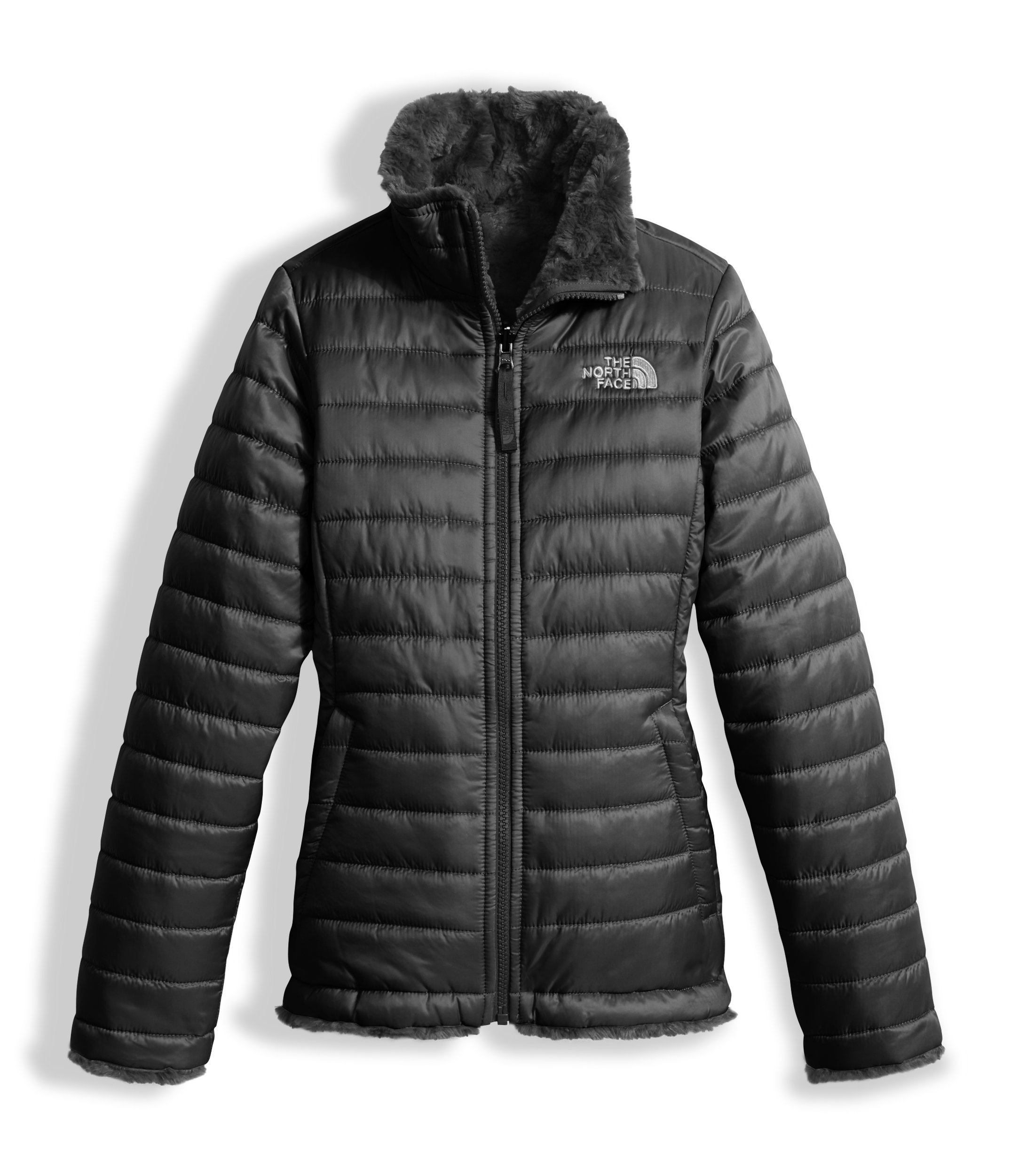 The North Face Girls Reversible Mossbud Swirl Jacket - TNF Black - XXS