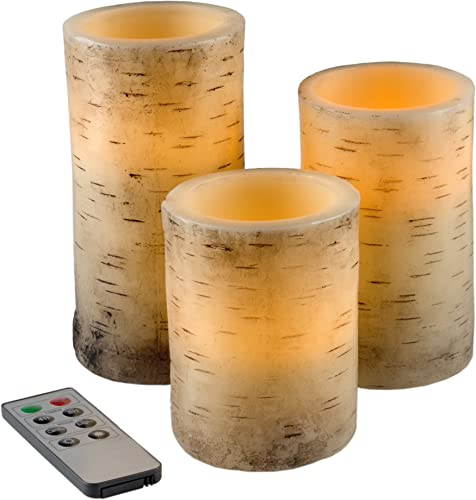 Lavish Home Flickering Flameless LED Candles with Birch Bark, 3 Piece