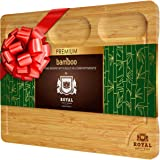 Extra Large Bamboo Cutting Board/Cheese and Charcuterie Board/Serving Tray with Built-In Compartments and Juice Groove - Wood