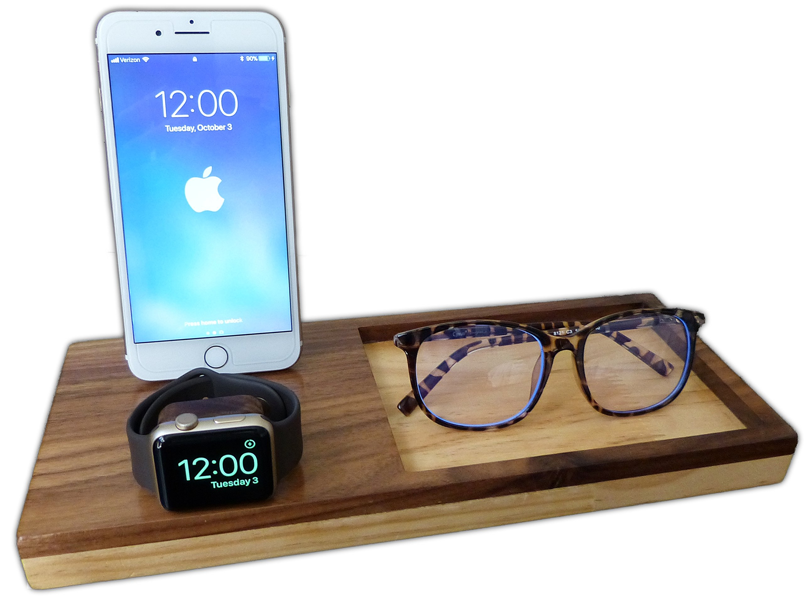 Wooden Charging Station Dock for iPhone and Apple Watch, Fullcharg iPhone Stand & Tray