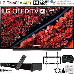 """LG OLED65C9PUA 65"""" C9 4K HDR Smart OLED TV w/ AI ThinQ (2019) w/ Soundbar Bundle Includes, Deco Gear Home Theater Surround Sound 31"""" Soundbar, Flat Wall Mount Kit for 45-90 inch TVs and More"""