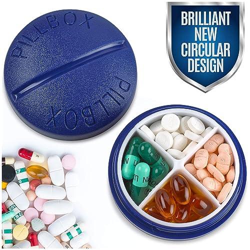 Organizador redondo para pastillas - Mini organizador de pastillas portátil y compacto de cuatro compartimentos,