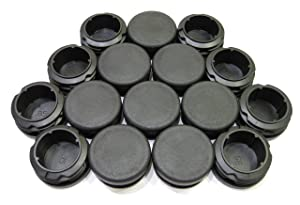 16pcs Pack: 1 3/8 Inch (35mm) Round Black Plastic End Cap (for Hole Size from 1 1/8 to 1 5/16, Including 1 1/4 inches, 29-33 mm), Furniture Finishing Plug
