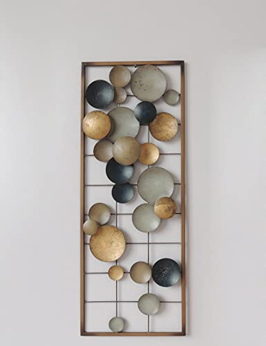 All American Collection New Aluminum Metal Wall Decor with Frame Circles Earth Colors