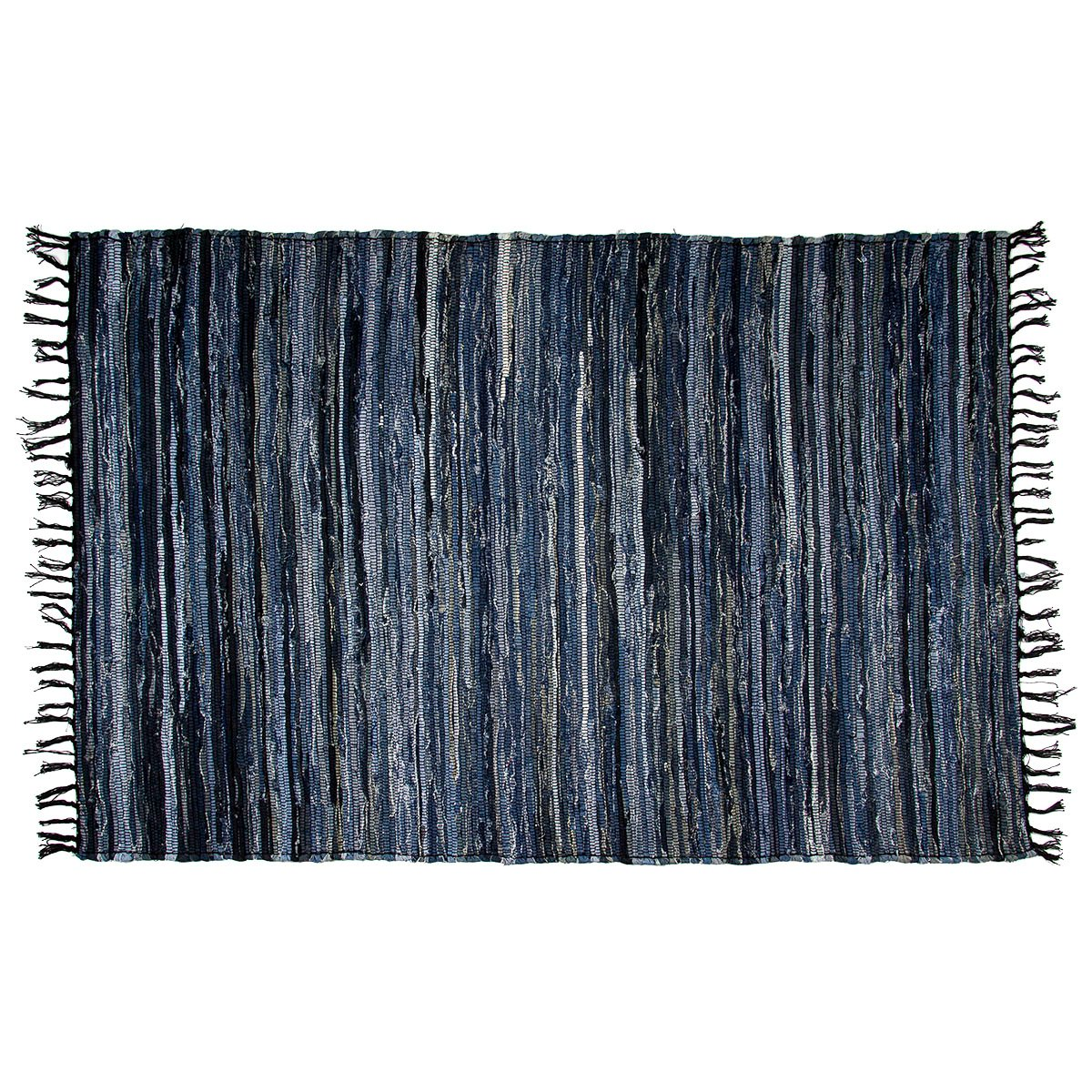 RoyalCollection Denim Chindi Area Rag Rug 100 Cotton Recycled For Living Room Entryway Bedroom Porch Woven Large 4×6