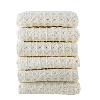 Linen and Towel 6 Pack Premium Cotton Kitchen Dish Towel, 18 inch x 28 inch, Ring Spun Cotton in Big Waffle Weave, Cream, Multi-Purpose Kitchen Napkin, Dish Towels