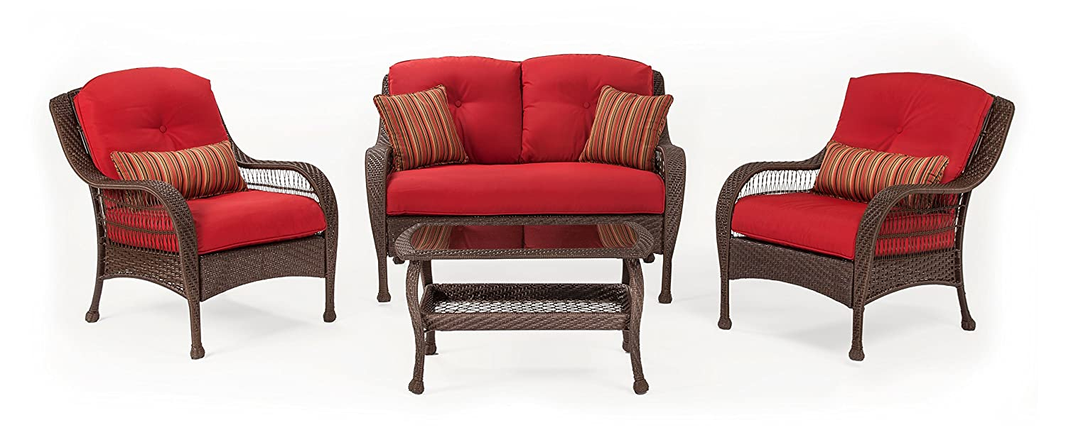Amazon.com: La Z Boy Outdoor Bristol Resin Wicker Patio Furniture  Conversation Set (Scarlet Red, 4 Piece):Two Lounge Chairs, Loveseat, Coffee  Table With All ...