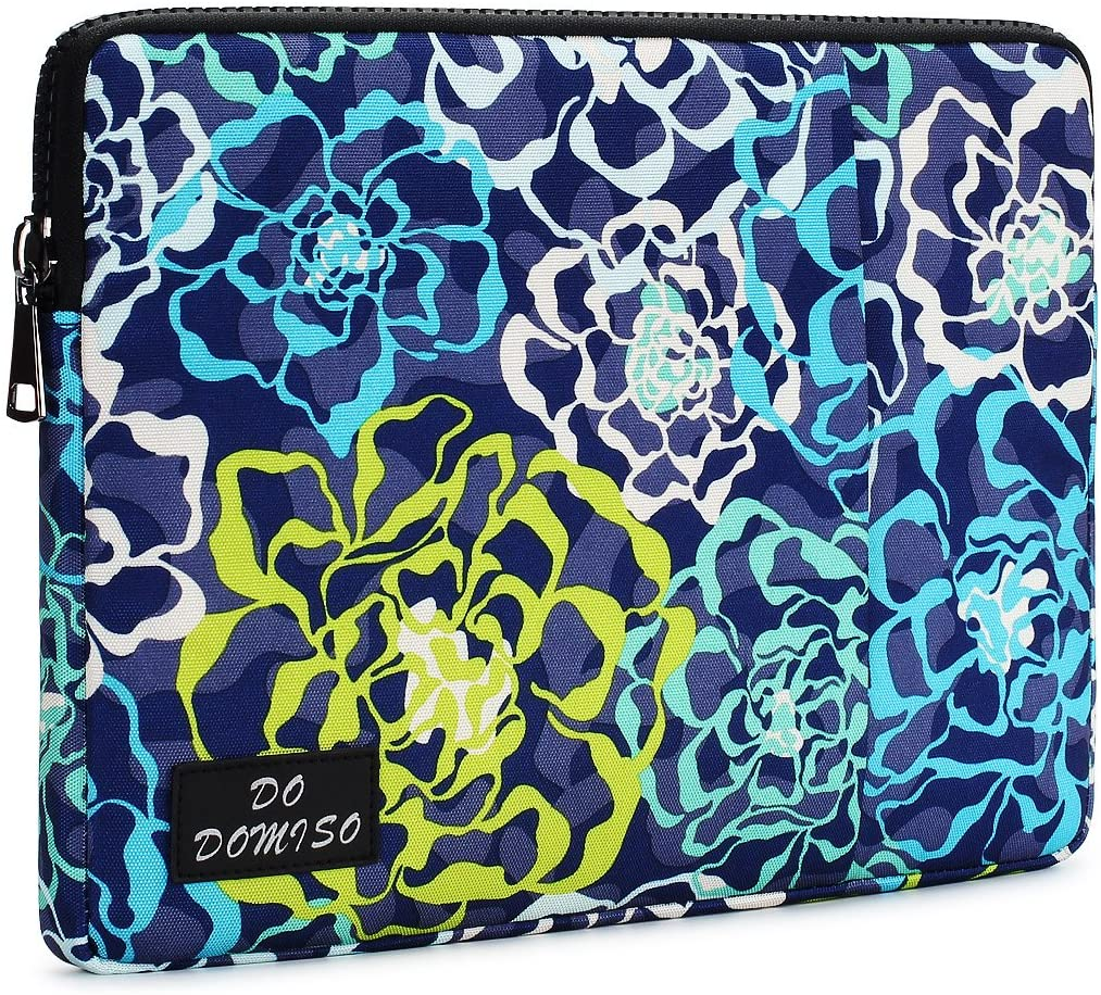 """DOMISO 11 Inch Laptop Sleeve Case Canvas Fabric Rose Pattern Bag for 11.6"""" MacBook Air / 12.3"""" Microsoft Surface Pro 4 Computers, Blue"""