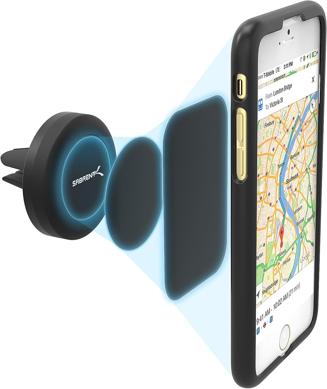Sabrent – Soporte Universal magnético para la mayoría de los Dispositivos Inteligentes para Usar en la Rejilla de ventilación del Coche, Modelo (CM-MGHB)