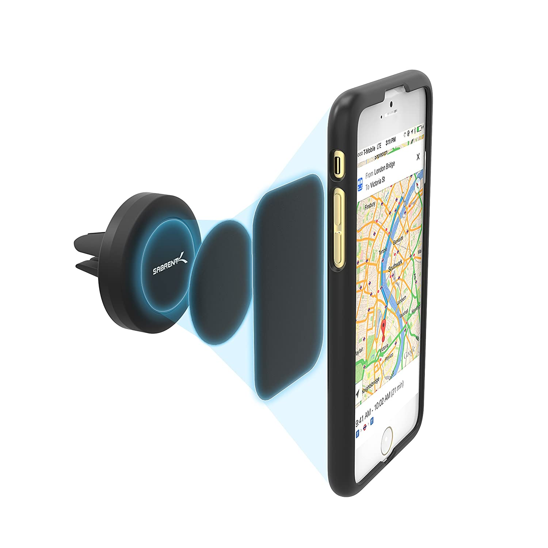 Sabrent - Soporte universal magnético para la mayoría de los dispositivos inteligentes para usar en la rejilla de ventilación del coche, modelo (CM-MGHB): ...