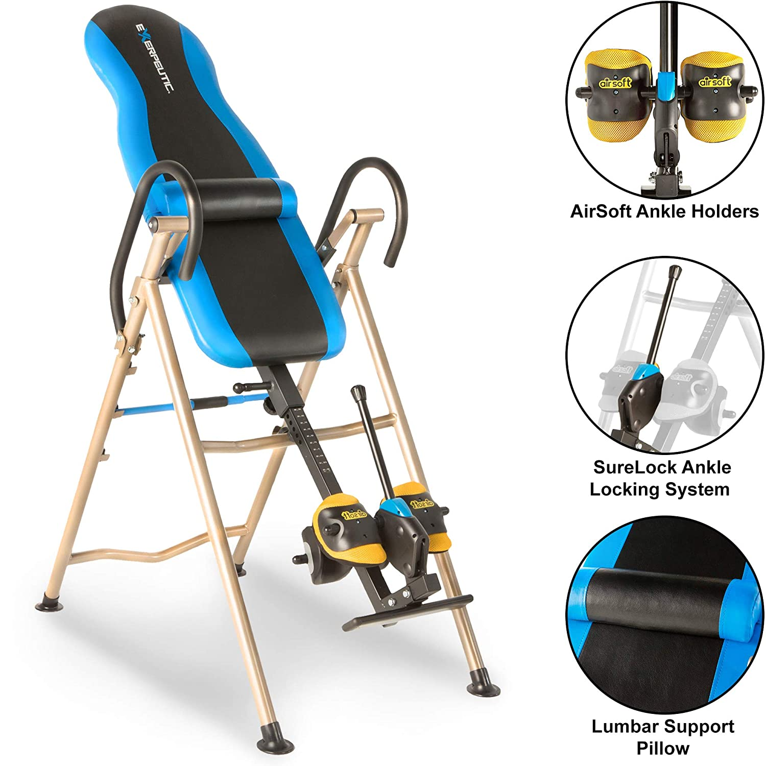 EXERPEUTIC Inversion Table with AIRSOFT NO PINCH Ankle Holders