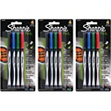 Sharpie Plastic Point Pen, 0.8mm, Fine Point, Assorted Colors, 12 Count