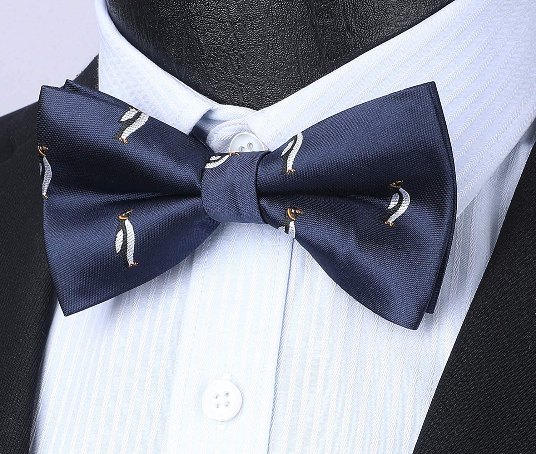 HISDERN Set da papillon da uomo pre-annodato con motivo animalier e tasca tascabile Accessori per feste di matrimonio